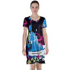 Sneakers Shoes Patterns Bright Short Sleeve Nightdress by Simbadda