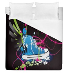 Sneakers Shoes Patterns Bright Duvet Cover (queen Size) by Simbadda