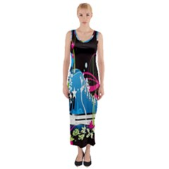 Sneakers Shoes Patterns Bright Fitted Maxi Dress by Simbadda