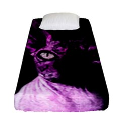 Pink Sphynx Cat Fitted Sheet (single Size) by Valentinaart