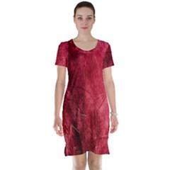 Red Background Texture Short Sleeve Nightdress by Simbadda