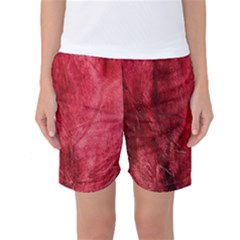 Red Background Texture Women s Basketball Shorts