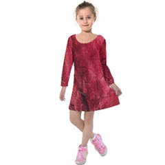 Red Background Texture Kids  Long Sleeve Velvet Dress