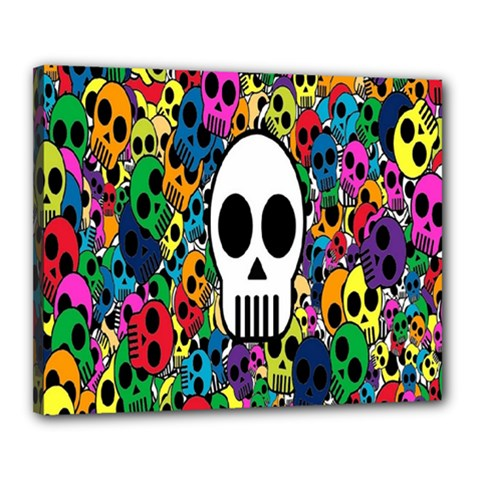 Skull Background Bright Multi Colored Canvas 20  X 16  by Simbadda