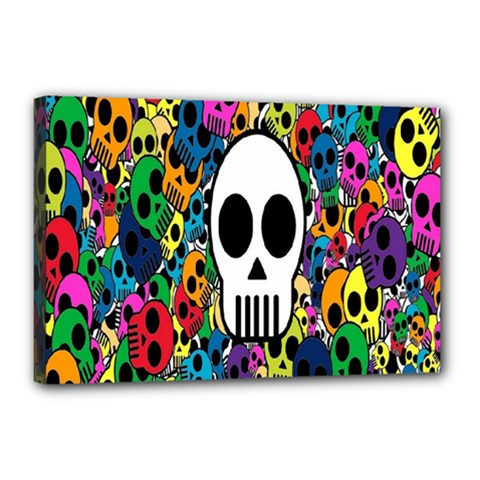 Skull Background Bright Multi Colored Canvas 18  X 12  by Simbadda