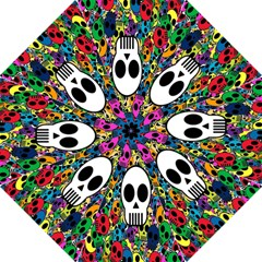 Skull Background Bright Multi Colored Folding Umbrellas