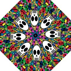 Skull Background Bright Multi Colored Hook Handle Umbrellas (large) by Simbadda