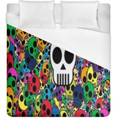 Skull Background Bright Multi Colored Duvet Cover (king Size) by Simbadda