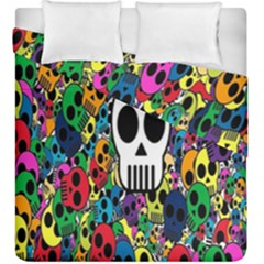 Skull Background Bright Multi Colored Duvet Cover Double Side (king Size) by Simbadda