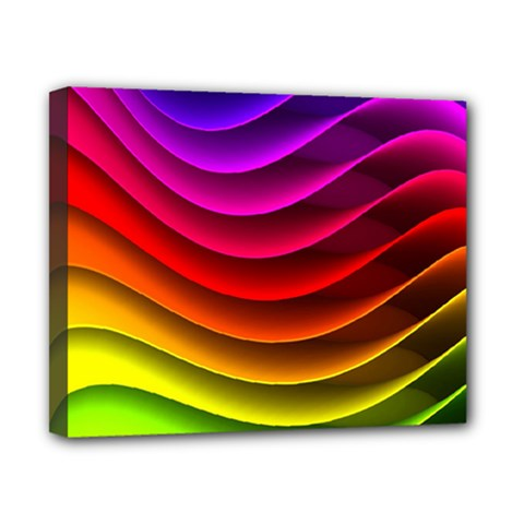 Spectrum Rainbow Background Surface Stripes Texture Waves Canvas 10  X 8  by Simbadda