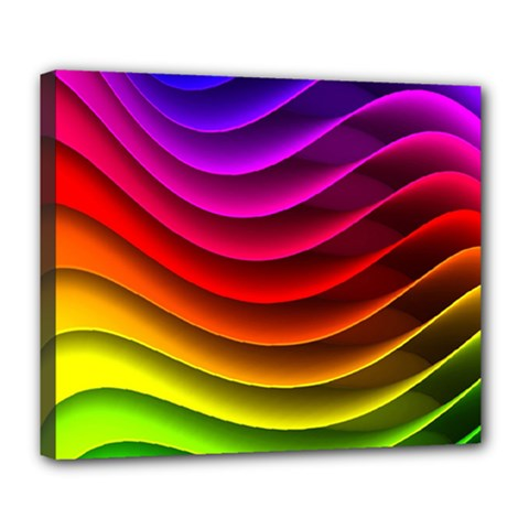 Spectrum Rainbow Background Surface Stripes Texture Waves Deluxe Canvas 24  X 20   by Simbadda