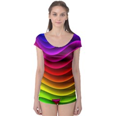 Spectrum Rainbow Background Surface Stripes Texture Waves Boyleg Leotard  by Simbadda