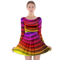 Spectrum Rainbow Background Surface Stripes Texture Waves Long Sleeve Skater Dress