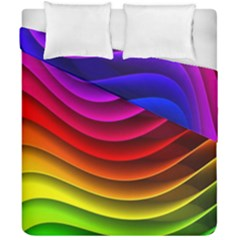 Spectrum Rainbow Background Surface Stripes Texture Waves Duvet Cover Double Side (california King Size) by Simbadda