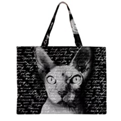 Sphynx Cat Zipper Large Tote Bag by Valentinaart