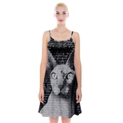 Sphynx Cat Spaghetti Strap Velvet Dress by Valentinaart