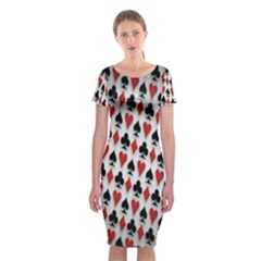 Suit Spades Hearts Clubs Diamonds Background Texture Classic Short Sleeve Midi Dress