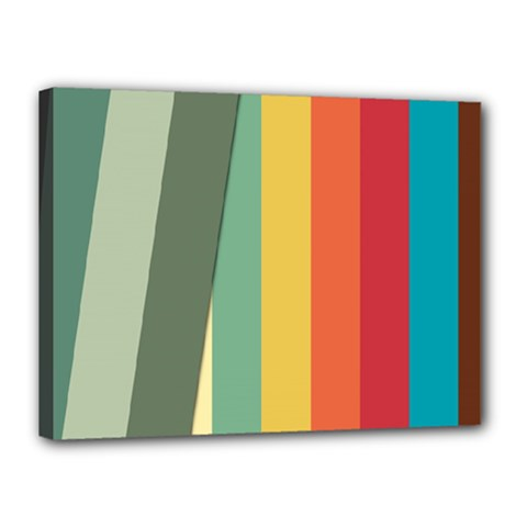 Texture Stripes Lines Color Bright Canvas 16  X 12  by Simbadda