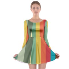 Texture Stripes Lines Color Bright Long Sleeve Skater Dress by Simbadda