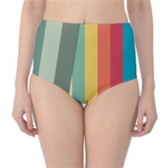 Texture Stripes Lines Color Bright High Waist Bikini Bottoms by Simbadda