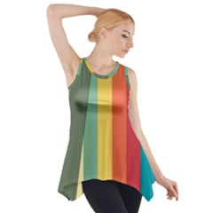 Texture Stripes Lines Color Bright Side Drop Tank Tunic