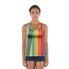 Texture Stripes Lines Color Bright Women s Sport Tank Top  by Simbadda