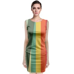 Texture Stripes Lines Color Bright Classic Sleeveless Midi Dress