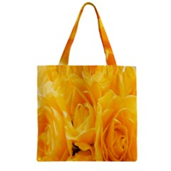 Yellow Neon Flowers Zipper Grocery Tote Bag by Simbadda