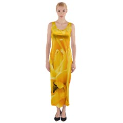 Yellow Neon Flowers Fitted Maxi Dress by Simbadda