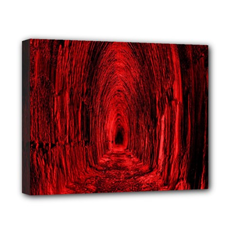 Tunnel Red Black Light Canvas 10  X 8  by Simbadda