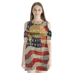 American President Shoulder Cutout Velvet  One Piece by Valentinaart