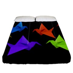 Paper Cranes Fitted Sheet (queen Size) by Valentinaart