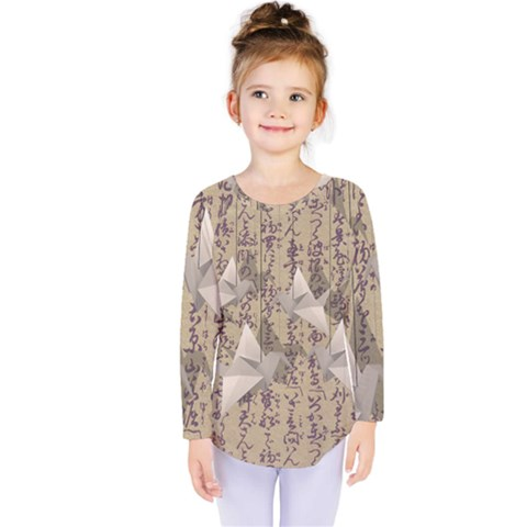 Paper Cranes Kids  Long Sleeve Tee by Valentinaart