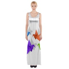 Paper Cranes Maxi Thigh Split Dress