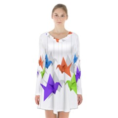 Paper Cranes Long Sleeve Velvet V Neck Dress