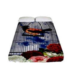 Vintage Bird In The Cage  Fitted Sheet (full/ Double Size) by Valentinaart
