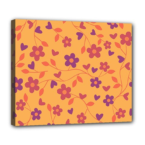 Floral Pattern Deluxe Canvas 24  X 20   by Valentinaart