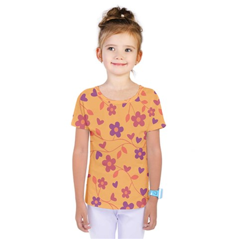 Floral Pattern Kids  One Piece Tee by Valentinaart