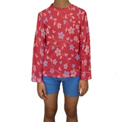 Floral pattern Kids  Long Sleeve Swimwear