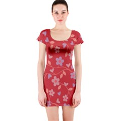 Floral pattern Short Sleeve Bodycon Dress