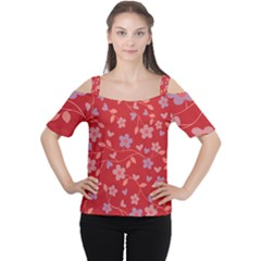 Floral pattern Women s Cutout Shoulder Tee