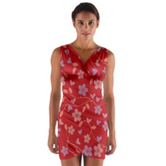 Floral pattern Wrap Front Bodycon Dress
