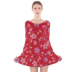 Floral pattern Long Sleeve Velvet Skater Dress