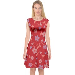 Floral pattern Capsleeve Midi Dress