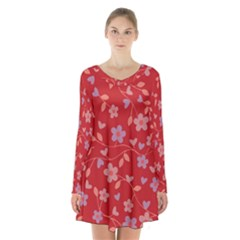Floral pattern Long Sleeve Velvet V-neck Dress