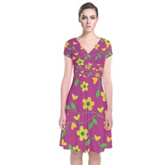 Floral Pattern Short Sleeve Front Wrap Dress