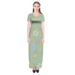 Floral Pattern Short Sleeve Maxi Dress by Valentinaart
