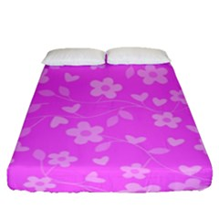Floral Pattern Fitted Sheet (queen Size) by Valentinaart