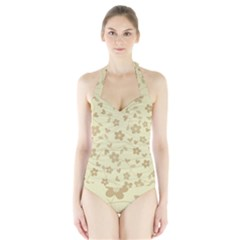 Floral Pattern Halter Swimsuit by Valentinaart