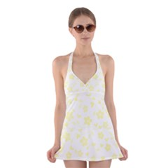 Floral Pattern Halter Swimsuit Dress
